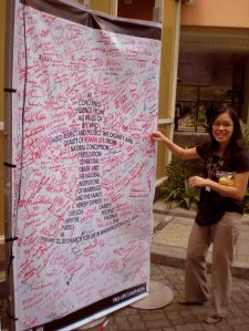 Pro-Life tarpaulin with signatures